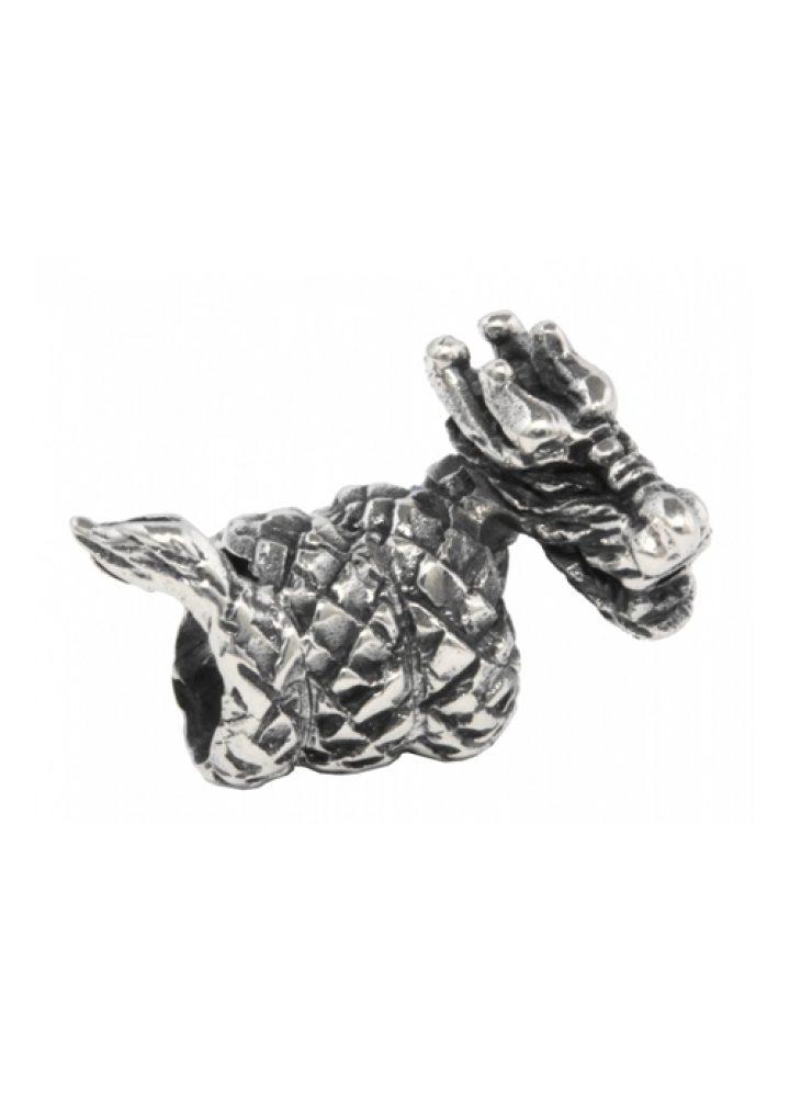 Bardperle Wikinger Drache in Silber