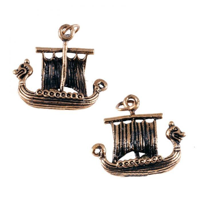 Wikinger Drachenschiff-Anhanger Bronze