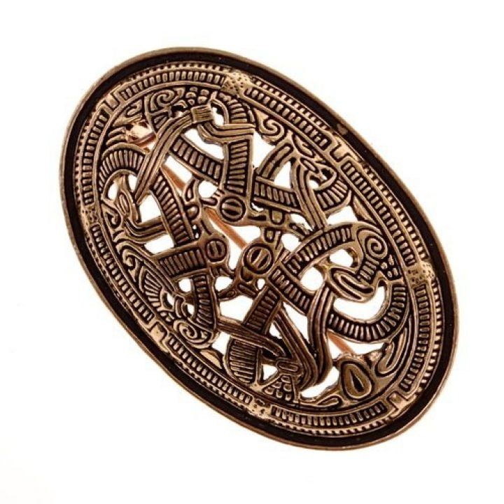 Wikinger Schildkrötenfibel-Ovalfibel Bronze Jelling Style