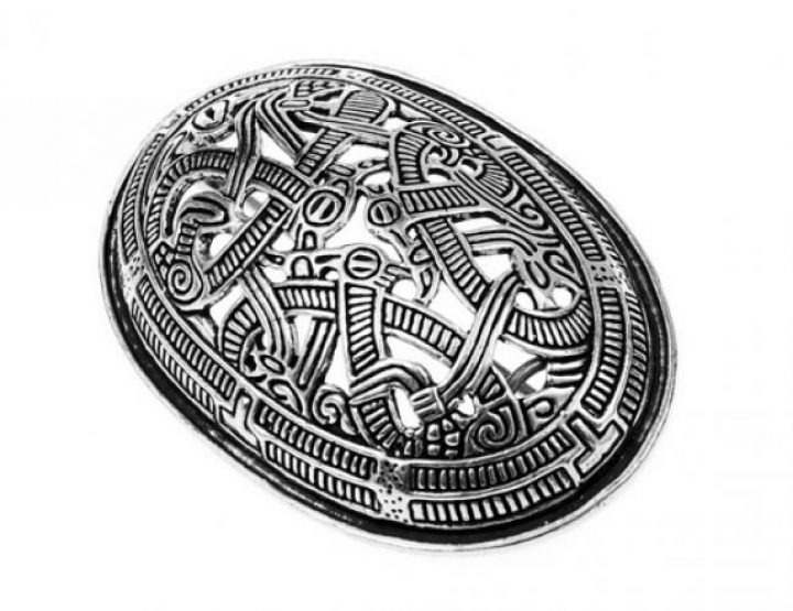 Wikinger Schildkrötenfibel-Ovalfibel Bronze Jelling Style versilbert