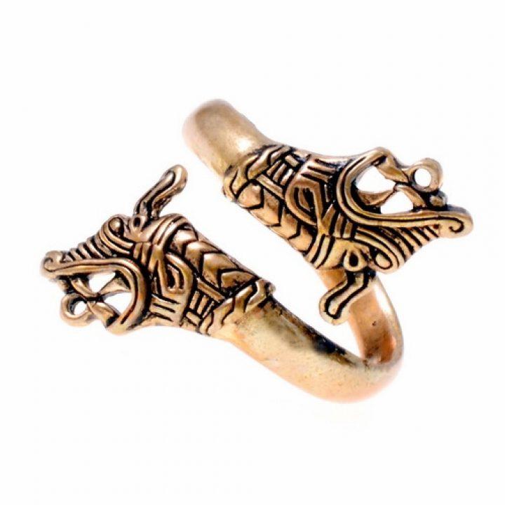 Viking Haithubu Drakenkop Ring Brons