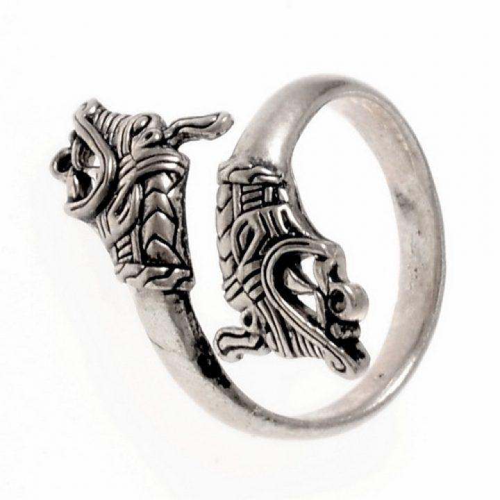 Viking Haithabu Drakenkop Ring Verzilvert