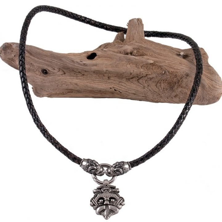 Wikinger Halsreifen mit Amulet mit Drachenköpfe in Zinn