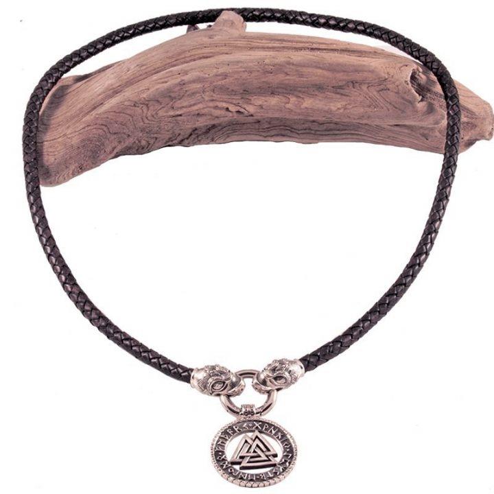 Wikinger Ledercollier mit dem schönen Amulett mit Drachenköpfe