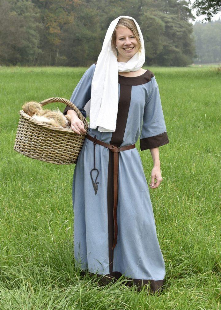 Wikinger, 6Jh-9Jh. Frühmittelalterliches Kleid Gudrun, blaugrau/braun
