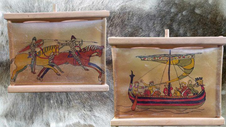 Viking Lantaarn, handgemaakt en handbeschilkderd met Tapijt van Bayeux