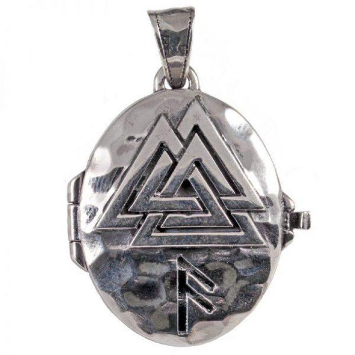 Viking Medaillon met Valknut in Zilver