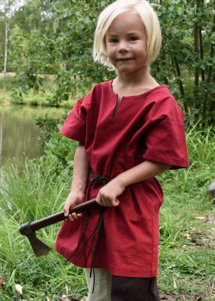 Mittelalter-Tunika / Leibhemd für Kinder, Rot, Mass 146