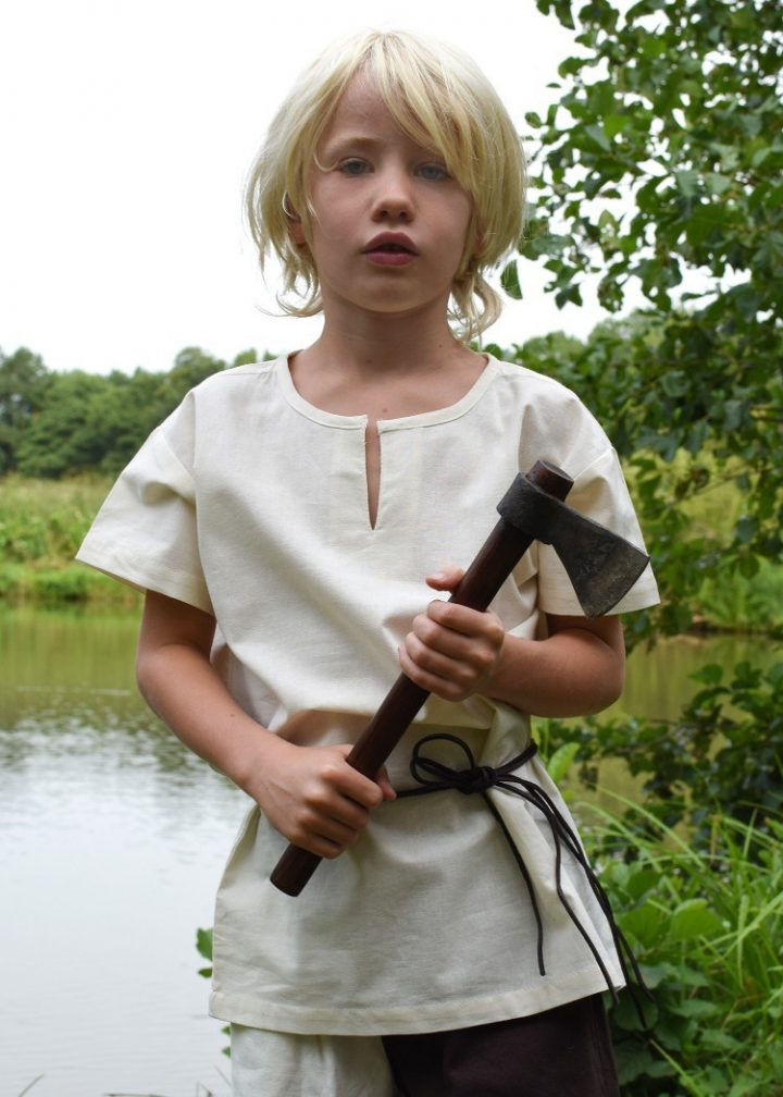 Viking-Middeleeuwen Kinder Maliënkolder Natuurkleur, maat 164 