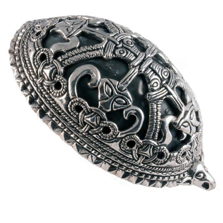 Wikinger Schildkroten-Oval Fibel Silber
