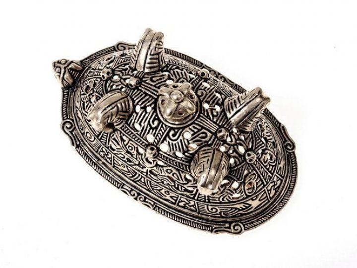 Viking Paardenkop Fibula uit Birka Verzilverd