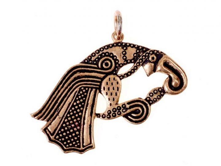 Viking Raaf Amulet Odin / Wodan 600 na. Chr. PP- raaf brons