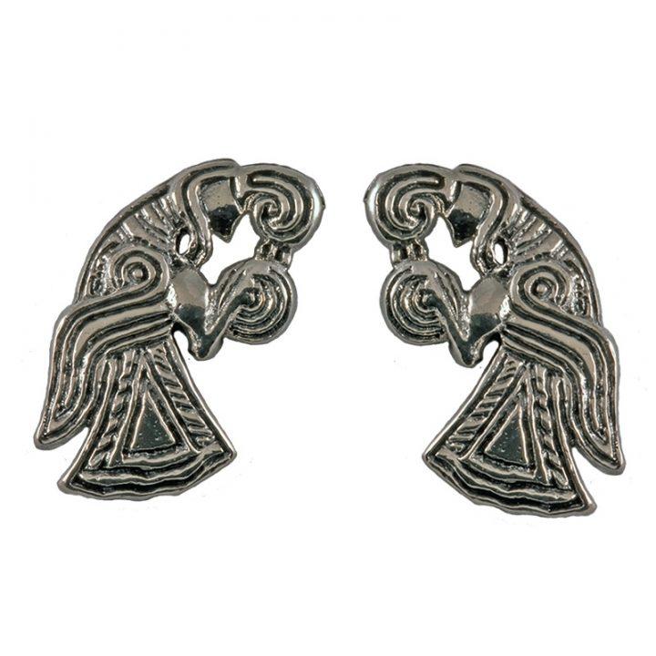 Viking Raven Oorstekers Zilver