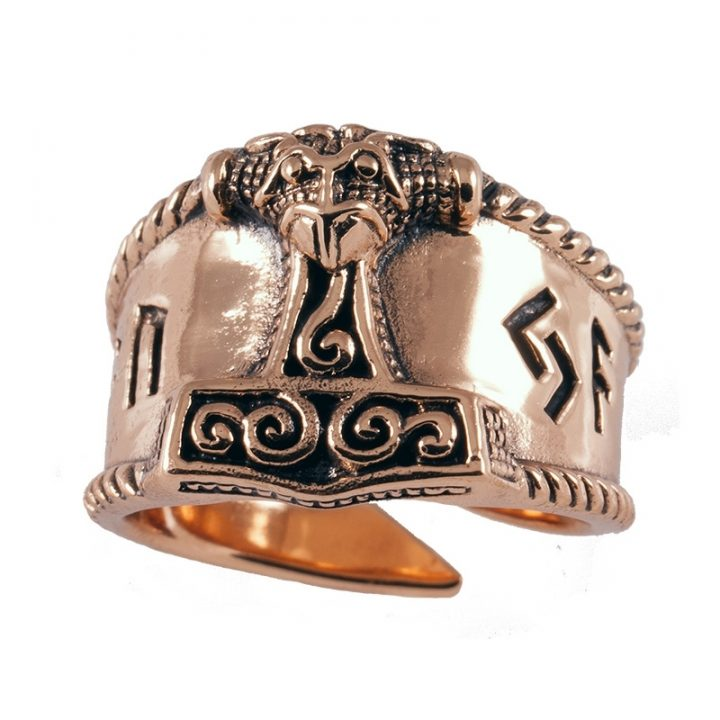 Viking Thorhamer Ring Brons Groot