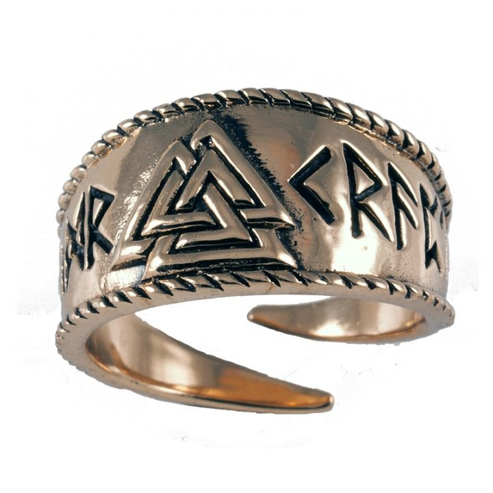Viking Valknut ring Brons Groot