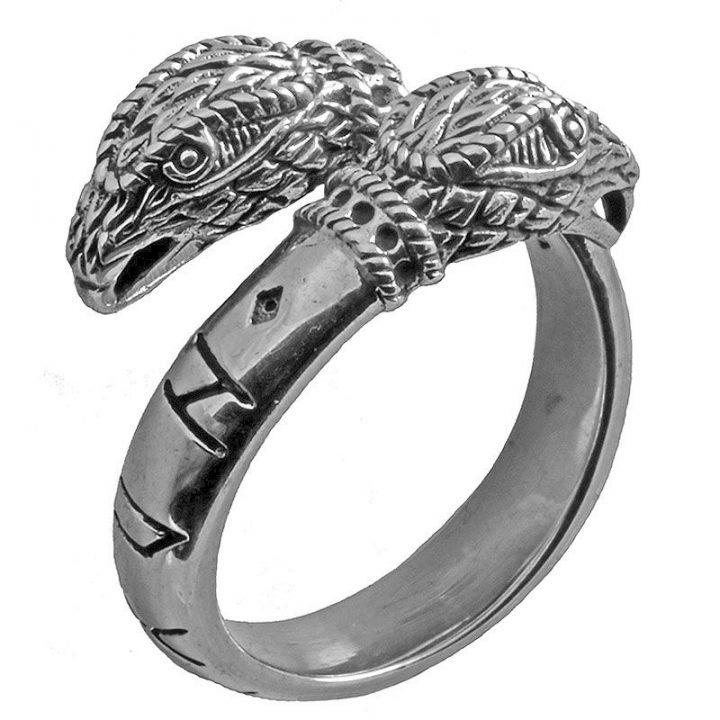 Wikinger Ring mit Odins Hugin und Munin Raben in 925 Silber Extra Gross.