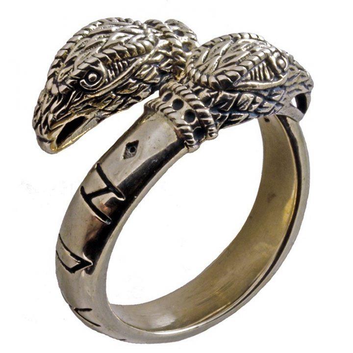 Wikinger Ring mit Odins Hugin und Munin Raben in Bronze Extra Gross.