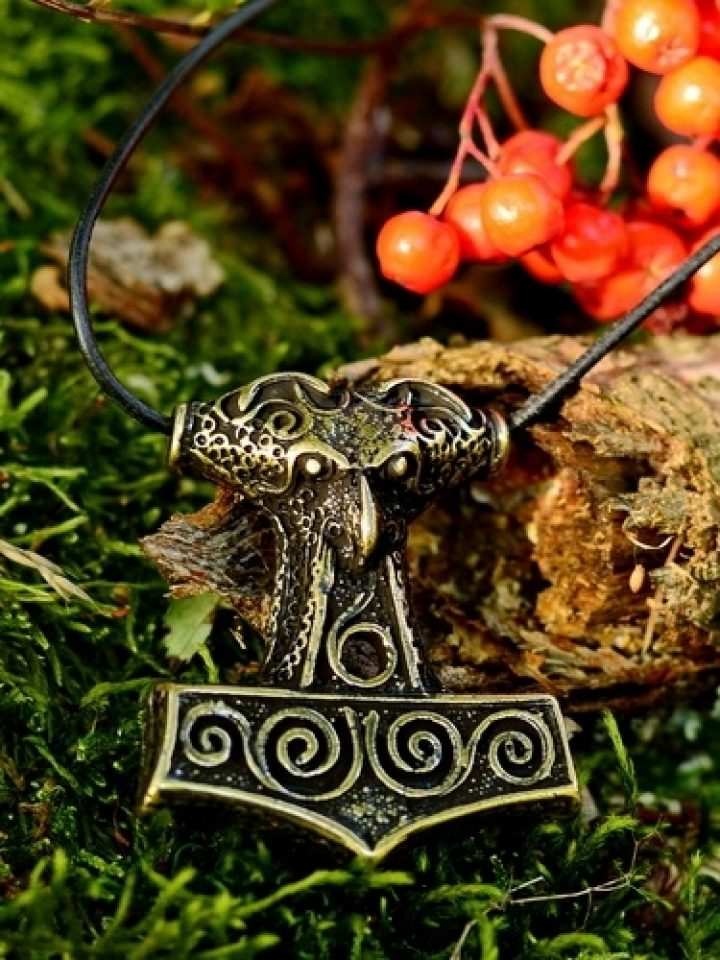 Viking Thorshammer met leren koord in Messingkleur