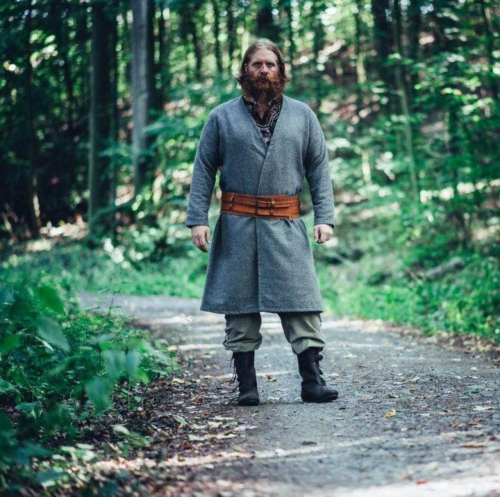Viking kaftan Wollmantel grijs