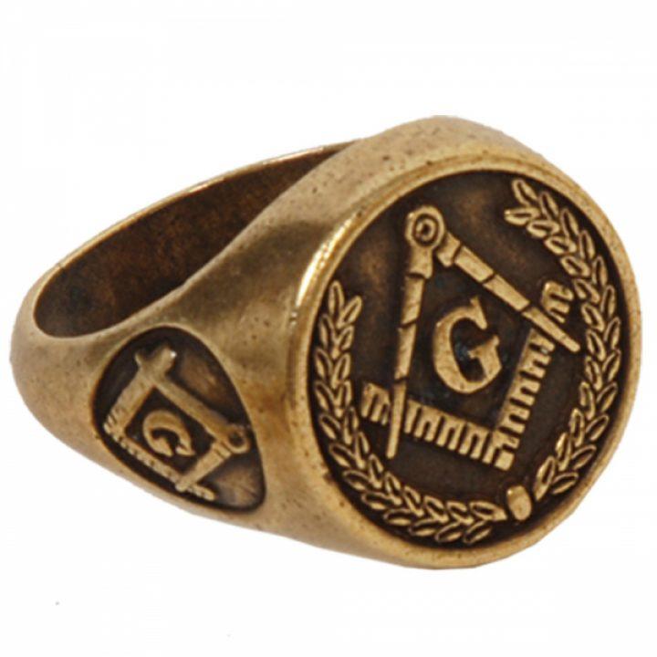 Vrij Metselaars Ring Bronskleur