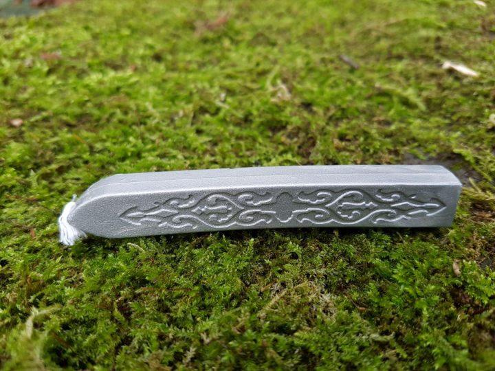 Zegelwas 9 cm met lont, zilver