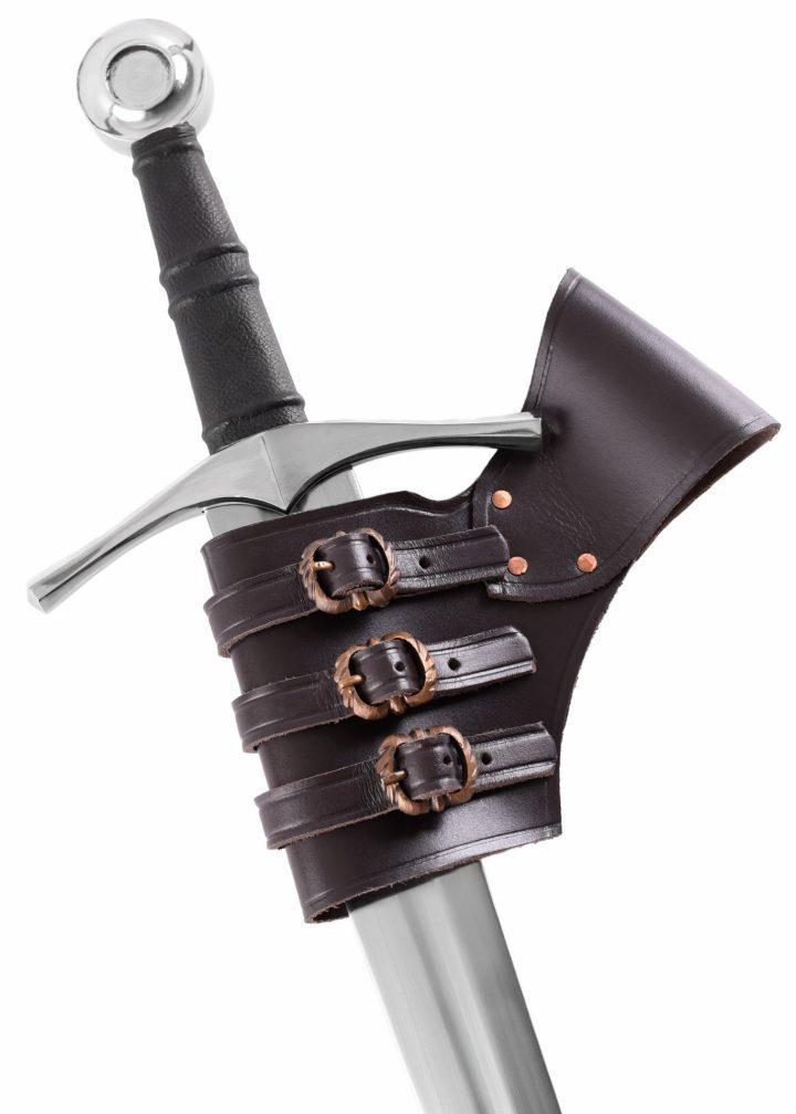 Verstellbarer Schwerthalter aus Leder.