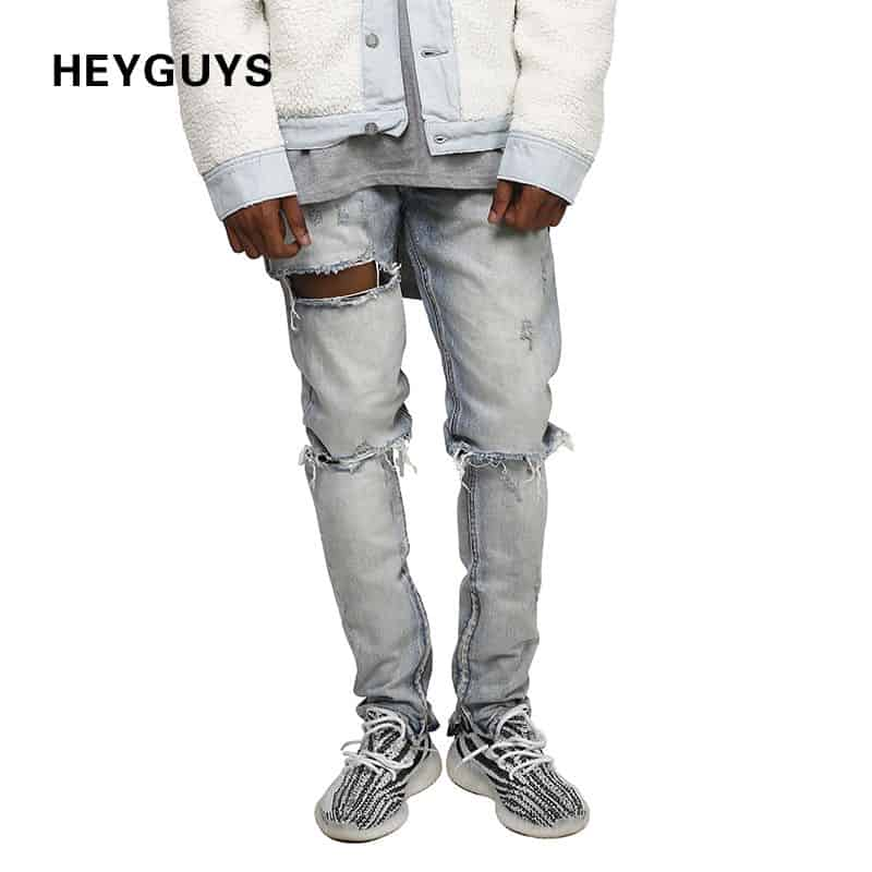 HEYGUYS Distress Jeans Thigh Blowout