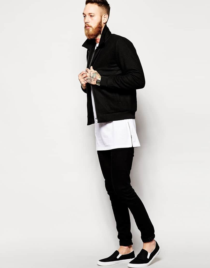 White long sleeve shirt with zipper draped up for Long length long sleeve t shirts