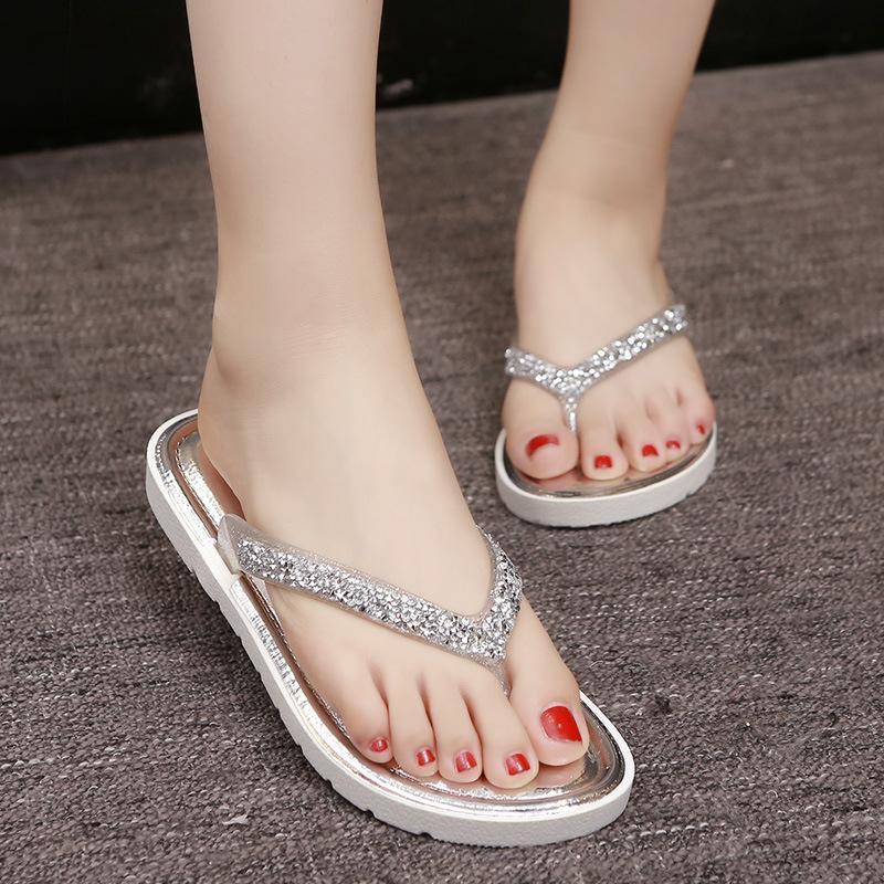 wearing flip flops