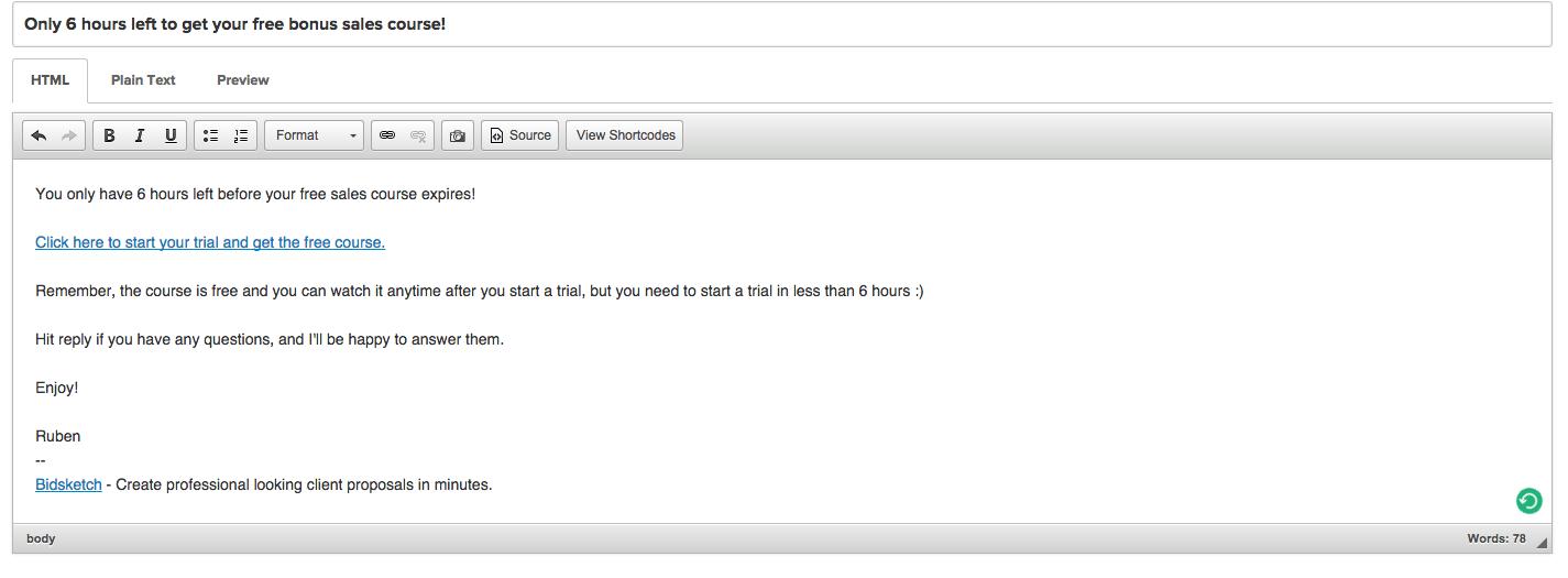 bidsketch offer email