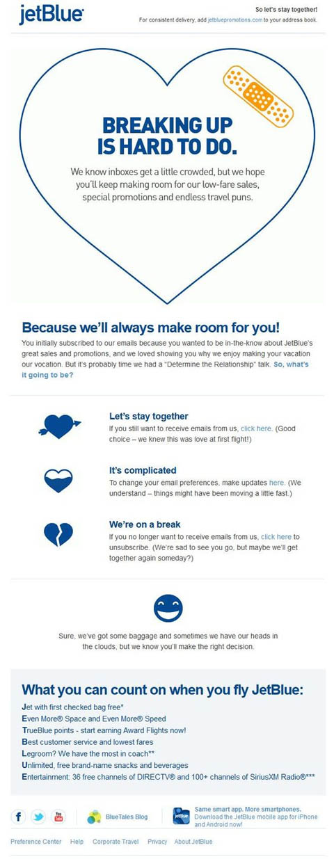 JetBlue email marketing example