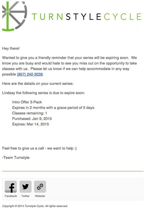 Turnstylecycle email marketing example