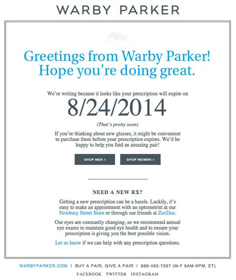 Warby Parker email marketing example