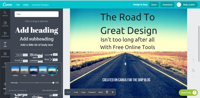 Screenshot of Canva in operation
