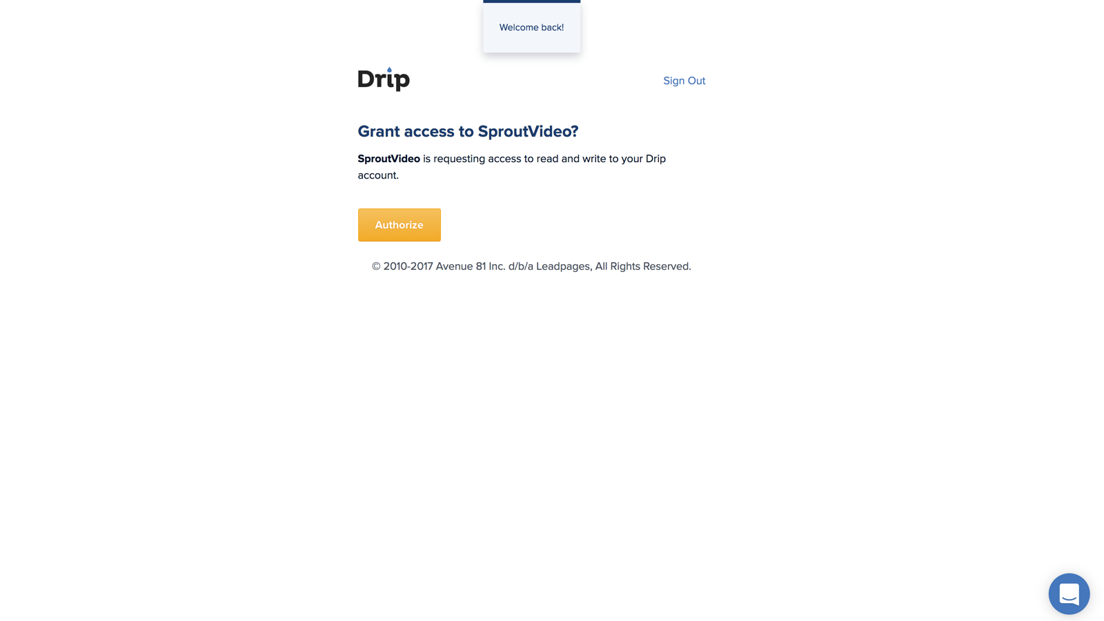Drip and SproutVideo Integration Screenshot