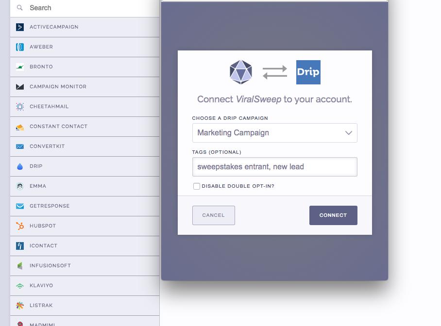 Drip and ViralSweep Integration Screenshot