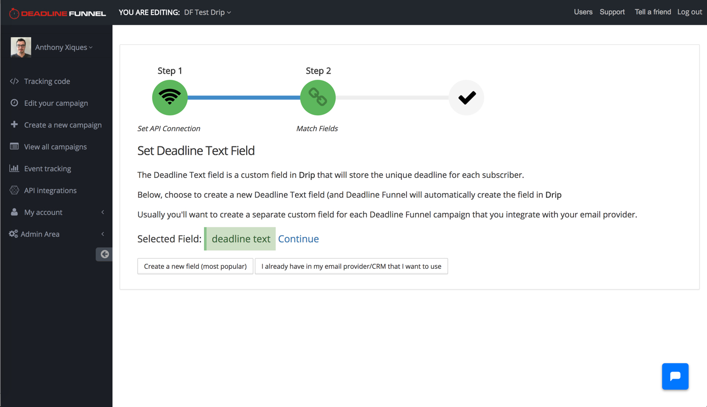 Drip and Deadline Funnel Integration Screenshot
