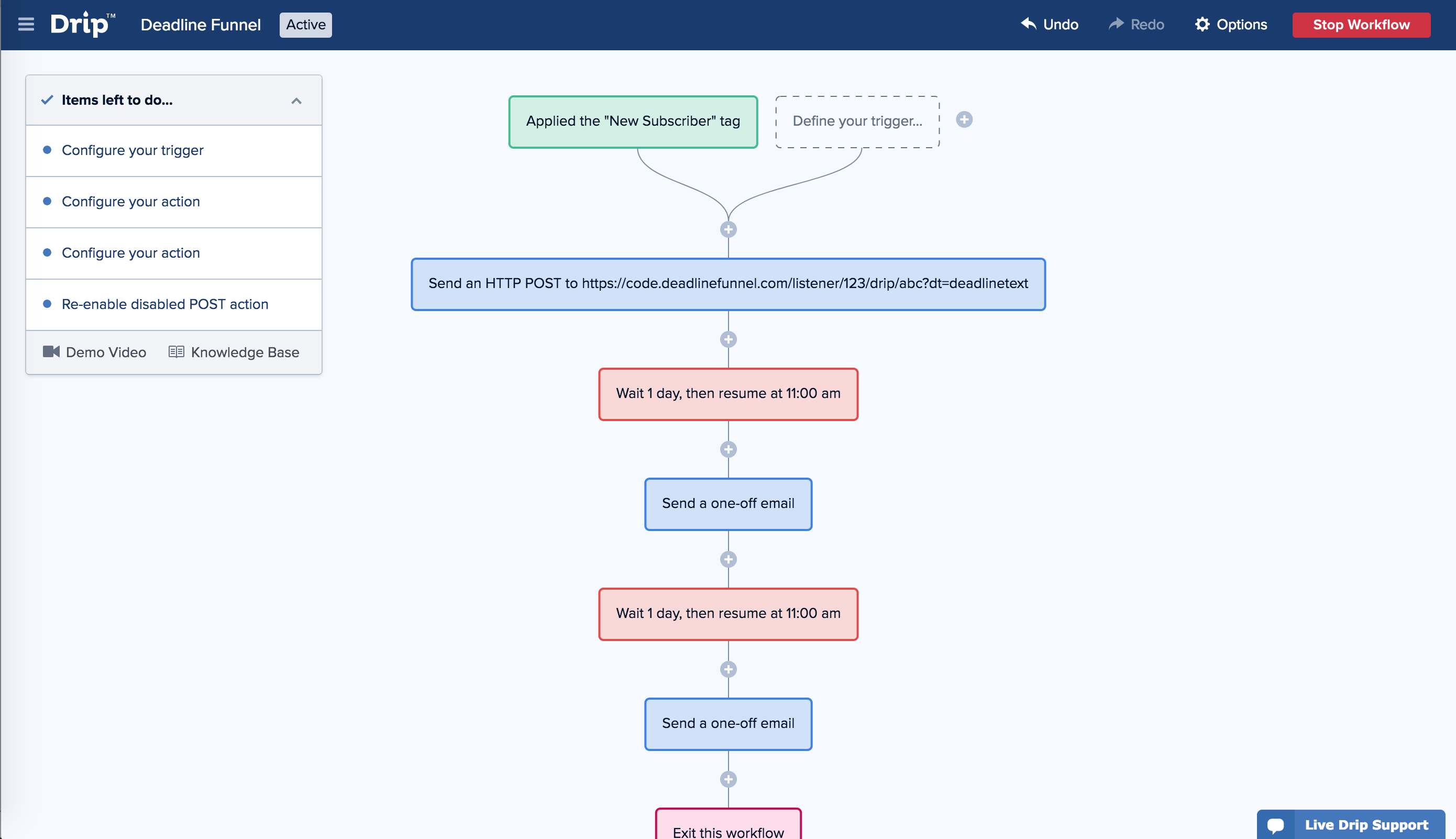 Drip and Deadline Funnel Integration Screenshot