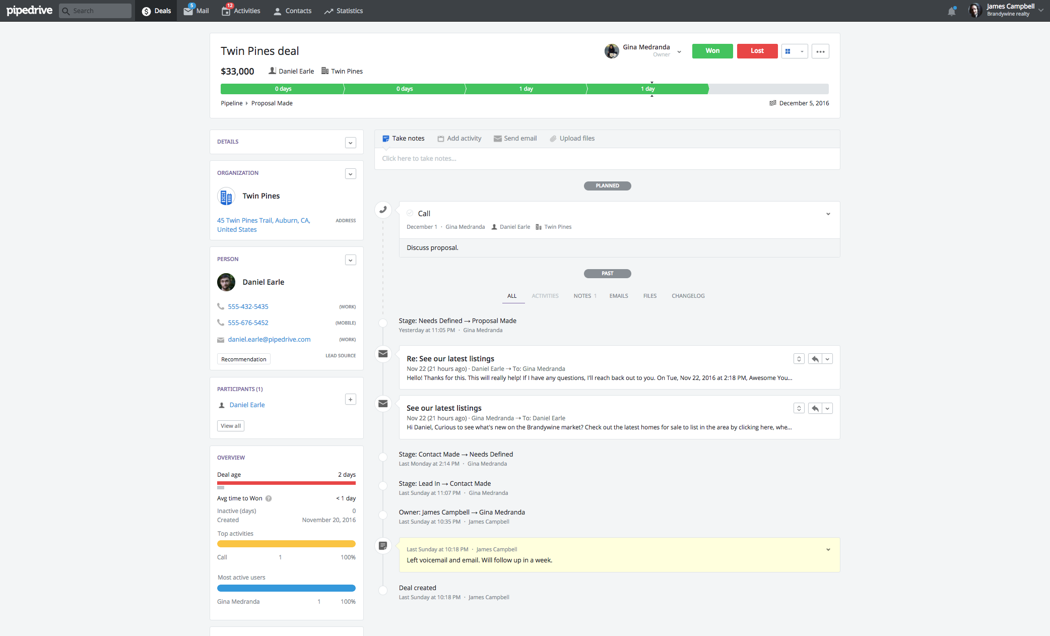Drip and Pipedrive Integration Screenshot