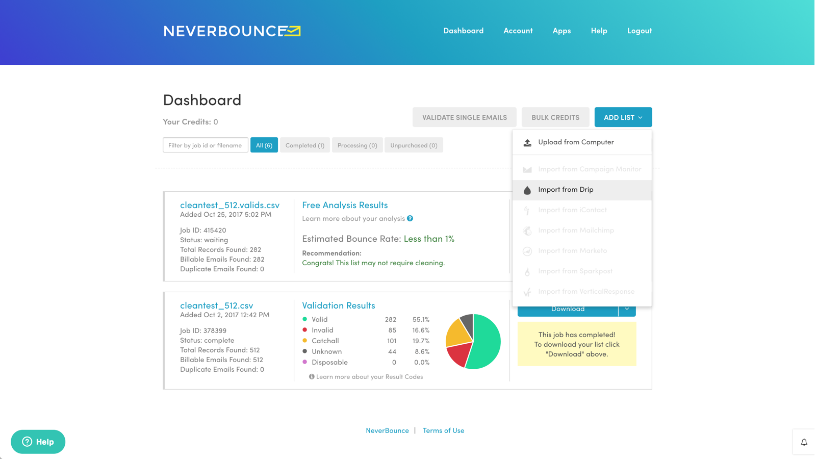 Drip and NeverBounce Integration Screenshot