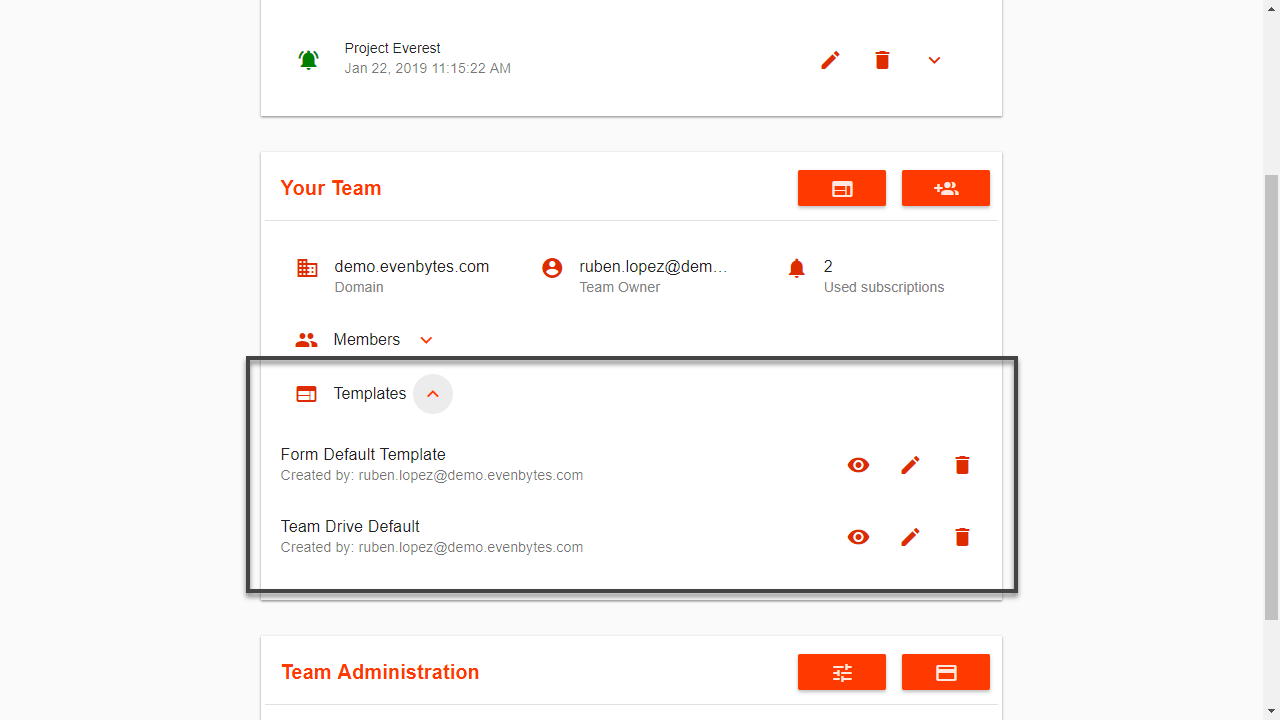 add a default template for teams