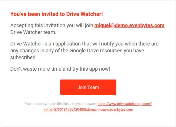 invitation message DriveWatcher