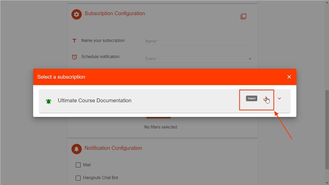 Import configuration in DriveWatcher