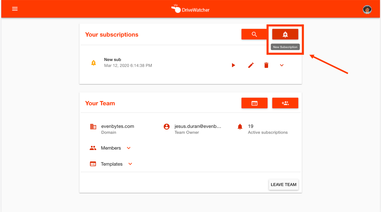create a new subscription in DriveWatcher