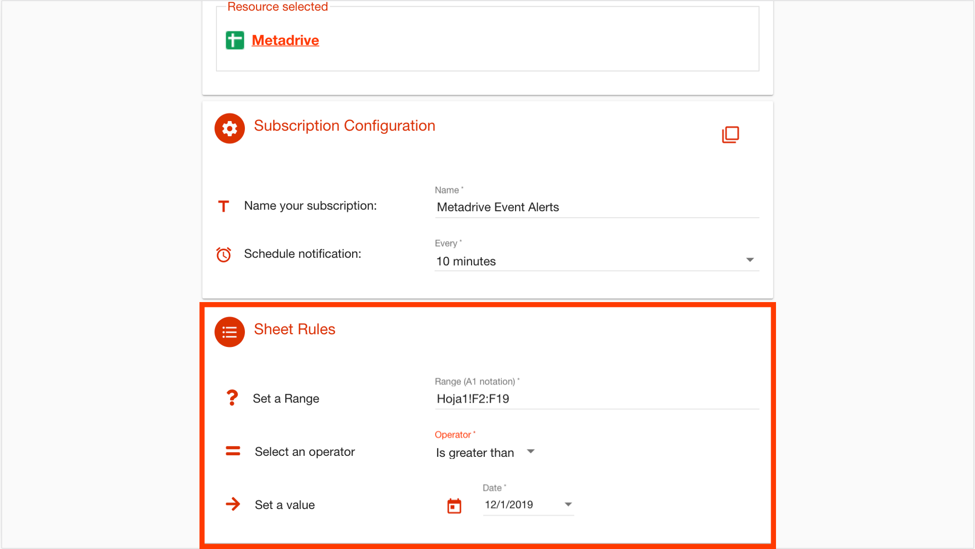DriveWatcher date subscriptions configuration