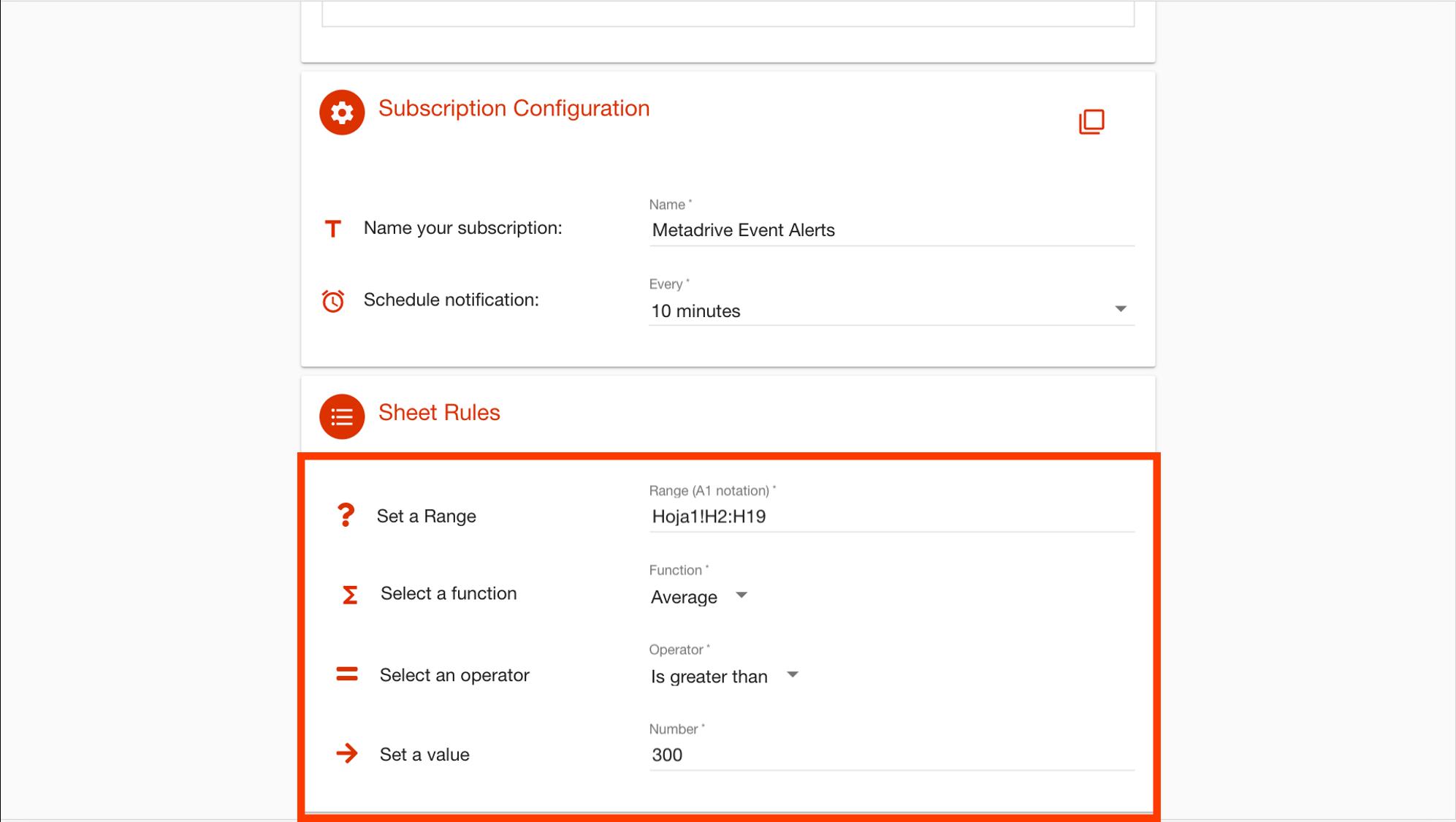 Configuration of google sheets regarding number cells