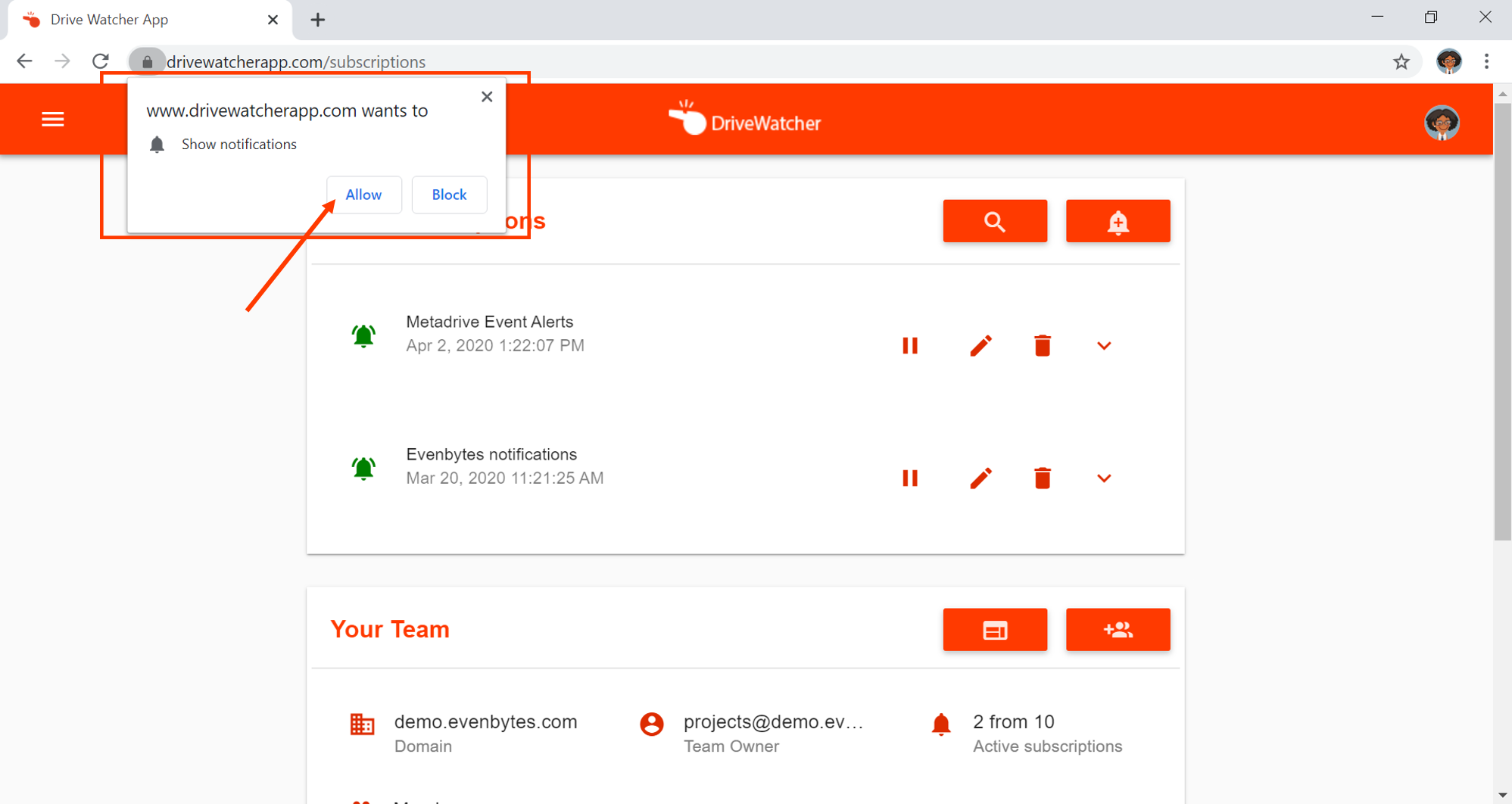 How to allow DriveWatcher browser notifications