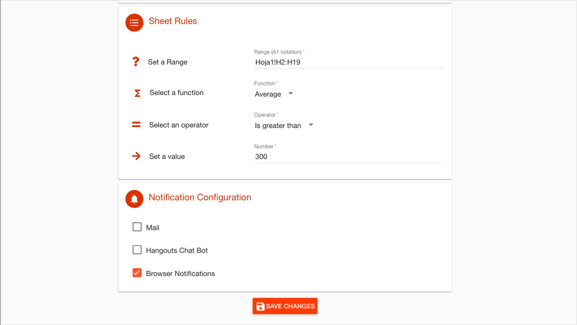 DriveWatcher notification configuration menu