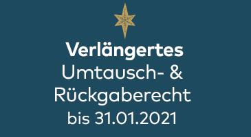 Verlängertes Umtausch & Rückgaberecht bis 31.01.2021