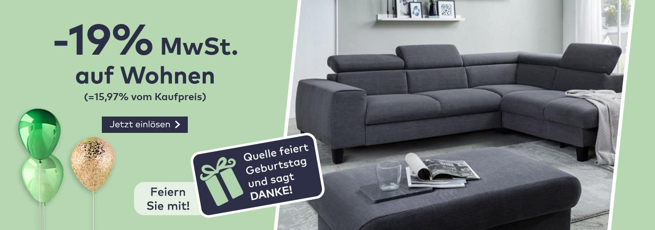 -19% MwSt. auf Wohnen im Quelle Online Shop